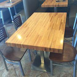 restaurant table top_butcher block top_red oak butcher block